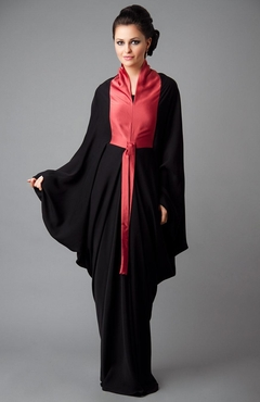 Red and Black Abaya for Semi-Formal Look